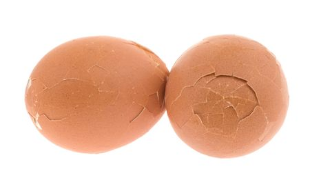 Beaten egg isolated on a white background photo