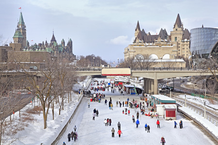 Rideau Canal skating rink, Parliament of Canada in winter, Ottawa
