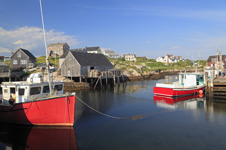 Peggys Cove village and fisherman boats, Nova Scotia