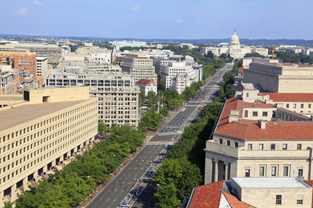 Washington DC, Pennsylvania Avenue, aerial view with federal buildings including US Archives building, Department of Justice and US Capitol