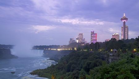 niagara falls city: Niagara Falls on dusk Stock Photo