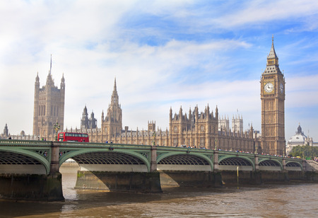 gothic architecture: Big Ben and Westminster bridge, London gothic architecture, UK