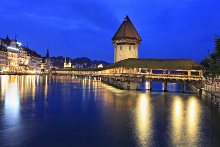 Lucerne skyline and Lachapel Bridge at dusk, Swiss, Europe