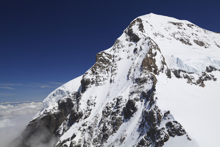 eiger: Mount Eiger in the Jungfrau region, view from Jungfraujoch, Swiss Stock Photo