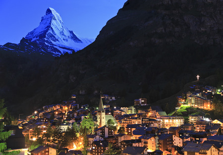 Zermatt and Matterhorn at dusk, Swizerland