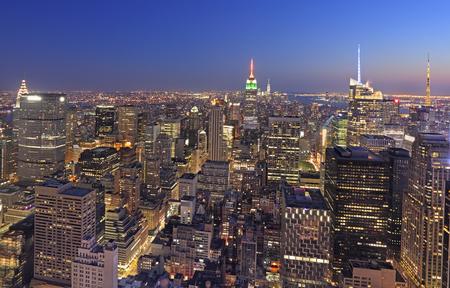 city night: New York City skyline at dusk Stock Photo