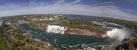 american falls: Panorama of American Falls, Bridal Veil Falls and Horseshoe Falls Canadian Falls, known as Niagara Falls