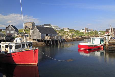 nova scotia: Peggys Cove village and fisherman boats, Nova Scotia, Canada Stock Photo