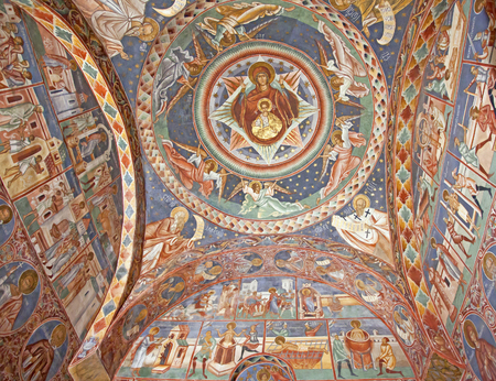fresco: Ceiling fresco of Monastery of Voronet, Romania Editorial