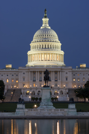 bass relief: US Capitol at night, Washington DC Stock Photo