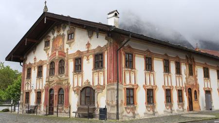 Painted house in Oberammergau, Germany Stockfoto