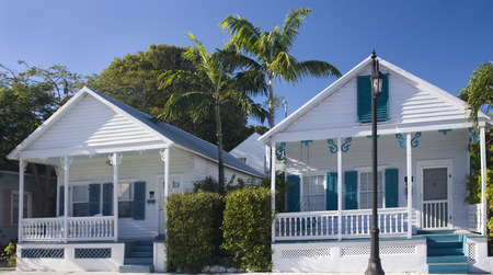 key west: Blue and white houses in Key West, Florida