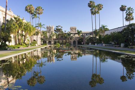 balboa: Balboa Park, buildings reflections, San Diego Stock Photo