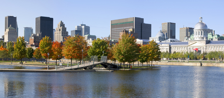 Montreal skyline with Bonsecours Basin, Quebec, Canada