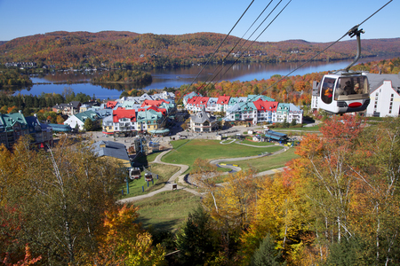 Mont Tremblant Lake and village in autumn, Quebec, Canada