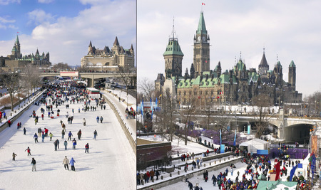 rideau canal: Rideau Canal, Parliament of Canada in winter, Ottawa Stock Photo