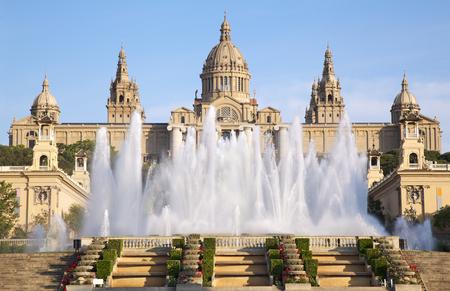 barcelona spain: Museu Nacional dArt de Catalunya and Magic Fountain, Barcelona, Spain Stock Photo
