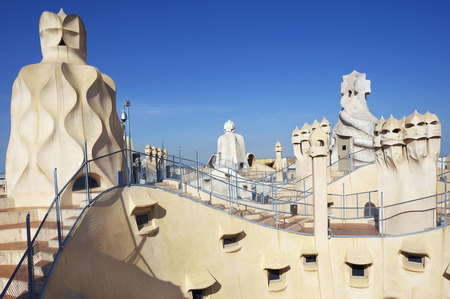Gaudi Chimneys statues at Casa Mila also called La Pedrera in Barcelona.