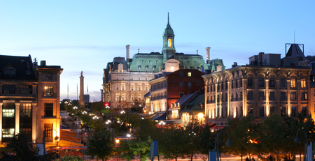 jacques: Montreal Jacques Cartier Place at dusk Stock Photo