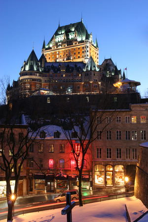 chateau: Chateau Frontenac at dusk in winter