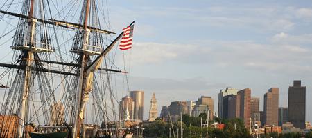 us constitution: Boston skyline, US Constitution Battleship , Massachusetts, United States of America Stock Photo