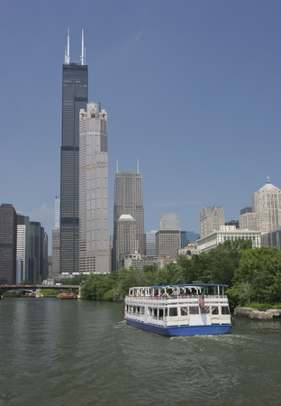 sears: The Willis Tower still commonly referred to as, Sears Tower is a 108-story, 1,451-foot 442 m in Chicago. Stock Photo