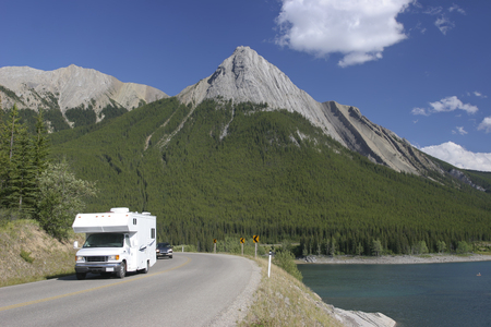 motor home: Motor Home at Mount Robson Stock Photo