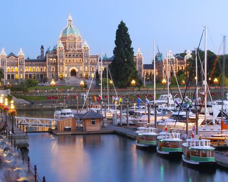 Parliament building illuminated at dusk, Victoria, British Columbia