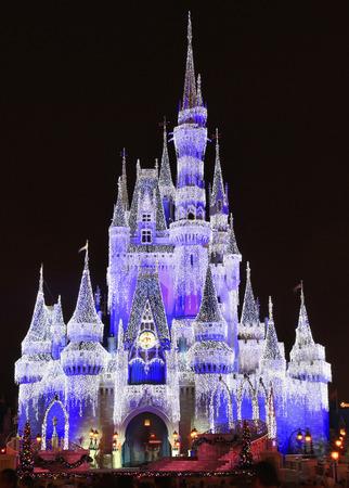 Cinderella castle illuminated at night, Magic Kingdom, Disney, Orlando, Florida