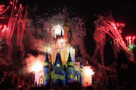 Cinderella Castle, Disney World Magic Kingdom with Fireworks at night