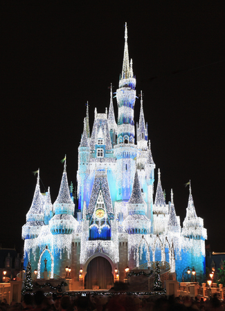 Cinderella Castle illuminated at night, Disney World Magic Kingdom, Orlando 新闻类图片