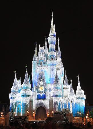 Cinderella Castle illuminated at night, Disney World Magic Kingdom, Orlando Redactioneel