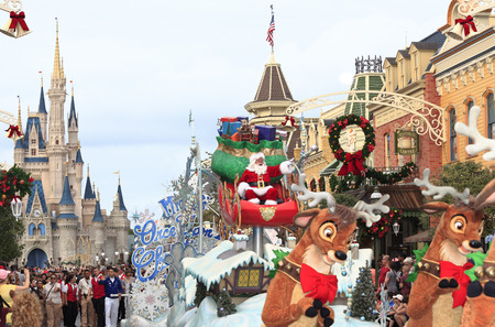 Christmas Parade with Santa Claus in Magic Kingdom, Florida
