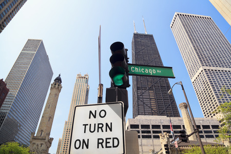 Chicago Avenue Sign, Water Tower and John Hancock Building Stockfoto