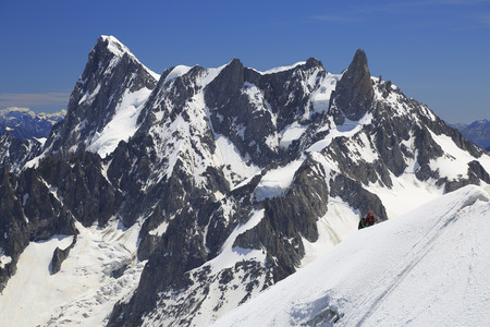 Climbers on French Alps Mountains near Aiguille du Midi, France, Europe Stock Photo