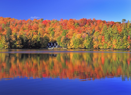 Autumn colors on the lake, Mont Tremblant area, Quebec, Canada