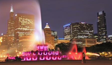 Chicago skyline and Buckingham Fountain at night