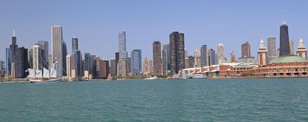 Chicago skyline and Michigan Lake Stock Photo