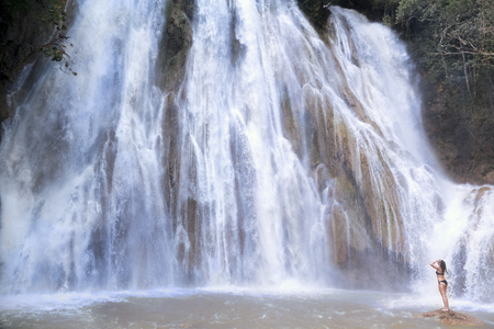 El Limon Waterfalls is the 52m-high and one of the best attraction in Samana area, Dominican Republic. Stock Photo