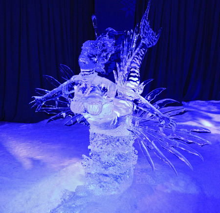 exposición: Ice sculpture of siren swimming illuminated at night in Confederation Park, Winterlude Event, on Feb 12, 2017 in Ottawa, ON, Canada
