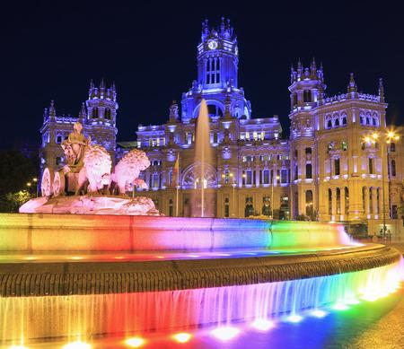 Plaza de la Cibeles (Cybeles Square) - Central Post Office (Palacio de Comunicaciones), illuminated at night in Madrid, Spain