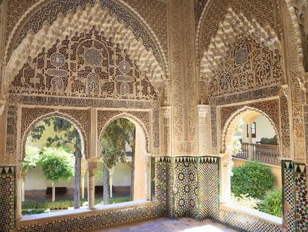 GRANADA, SPAIN - JUNE 28, 2017: Moorish architecture of the Nasrin Palace, The Alhambra, Granada, Andalusia, Spain, Europe.