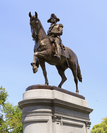 BOSTON, USA - AUGUST 06, 2017: The George Washington Statue in Boston Public Garden is one of the most attractive monuments in the city, and was sculpted by artist Thomas Ball. Editorial