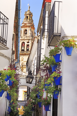 Patio de las Flores, Cathedral tower of Cordoba, Spain Stockfoto