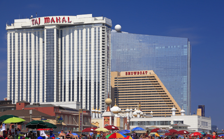 ATLANTIC CITY, NEW JERSEY - AUGUST 19, 2017: Modern Hotels in Atlantic City. Established in the 1800s as a health resort, today the city is dotted with modern high-rise hotels night clubs and casinos.