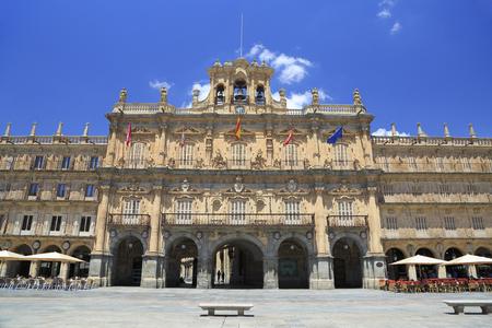 Historic Plaza Mayor in Salamanca on a sunny day, Castilla y Leon, Spain Editorial