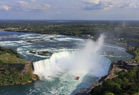 Hoefijzer Falls in Niagara, luchtfoto Redactioneel