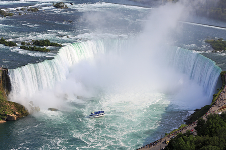 Horseshoe Falls in Niagara and Maid of the Mist boat, aerial view