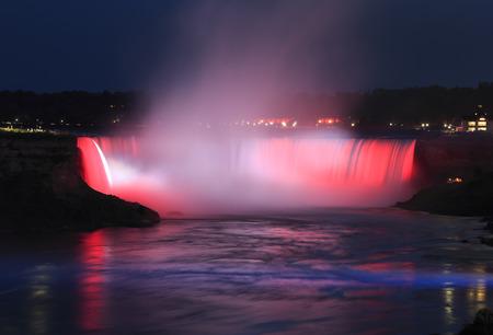 Niagara Falls illuminated at night, Canada and USA
