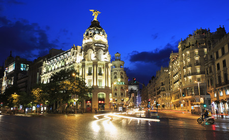 MADRID, SPAIN - JULY 25, 2017: Gran Vía is an upscale shopping street located in central Madrid. Is known as the Spanish Broadway, and it is one of the streets with the most nightlife in Europe. Editorial